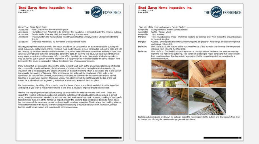 Saftey Harbor Home Inspection Report Sample